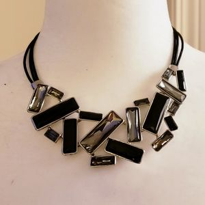 Black and grey glass jeweled statement necklace